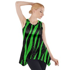 Skin3 Black Marble & Green Colored Pencil Side Drop Tank Tunic