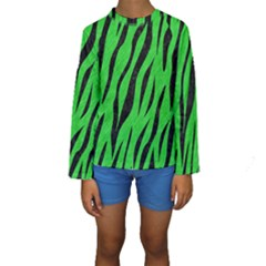 Skin3 Black Marble & Green Colored Pencil (r) Kids  Long Sleeve Swimwear