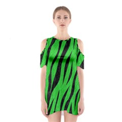 Skin3 Black Marble & Green Colored Pencil (r) Shoulder Cutout One Piece