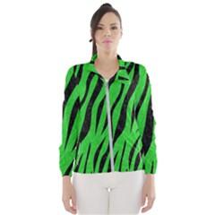 Skin3 Black Marble & Green Colored Pencil (r) Wind Breaker (women)