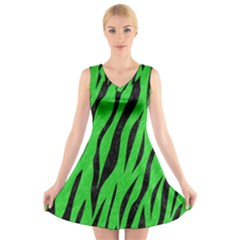 Skin3 Black Marble & Green Colored Pencil (r) V Neck Sleeveless Skater Dress