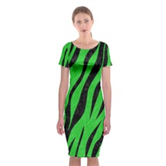 Skin3 Black Marble & Green Colored Pencil (r) Classic Short Sleeve Midi Dress