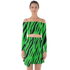 Skin3 Black Marble & Green Colored Pencil (r) Off Shoulder Top With Skirt Set
