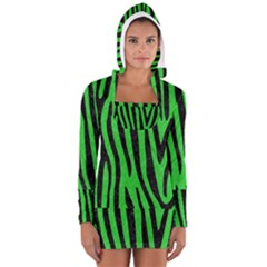 Skin4 Black Marble & Green Colored Pencil Long Sleeve Hooded T Shirt