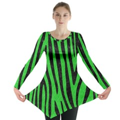 Skin4 Black Marble & Green Colored Pencil Long Sleeve Tunic
