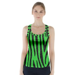 Skin4 Black Marble & Green Colored Pencil Racer Back Sports Top