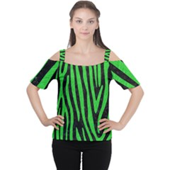 Skin4 Black Marble & Green Colored Pencil (r) Cutout Shoulder Tee
