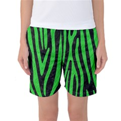 Skin4 Black Marble & Green Colored Pencil (r) Women s Basketball Shorts