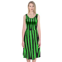 Skin4 Black Marble & Green Colored Pencil (r) Midi Sleeveless Dress