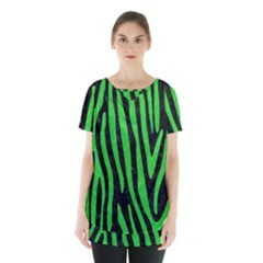 Skin4 Black Marble & Green Colored Pencil (r) Skirt Hem Sports Top