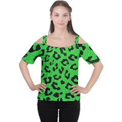 Skin5 Black Marble & Green Colored Pencil Cutout Shoulder Tee