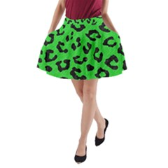 Skin5 Black Marble & Green Colored Pencil A Line Pocket Skirt