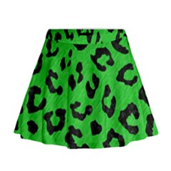 Skin5 Black Marble & Green Colored Pencil Mini Flare Skirt