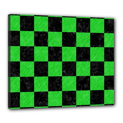 Square1 Black Marble & Green Colored Pencil Canvas 24  X 20
