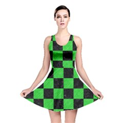 Square1 Black Marble & Green Colored Pencil Reversible Skater Dress