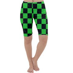 Square1 Black Marble & Green Colored Pencil Cropped Leggings
