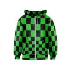 Square1 Black Marble & Green Colored Pencil Kids  Zipper Hoodie