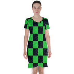 Square1 Black Marble & Green Colored Pencil Short Sleeve Nightdress