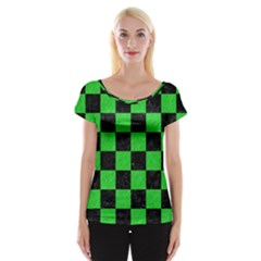 Square1 Black Marble & Green Colored Pencil Cap Sleeve Tops