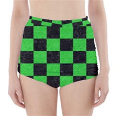 Square1 Black Marble & Green Colored Pencil High Waisted Bikini Bottoms