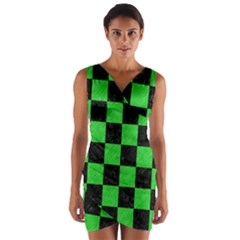 Square1 Black Marble & Green Colored Pencil Wrap Front Bodycon Dress