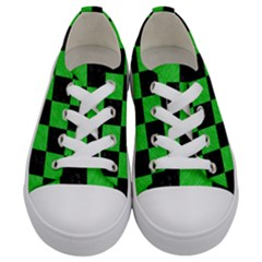 Square1 Black Marble & Green Colored Pencil Kids  Low Top Canvas Sneakers