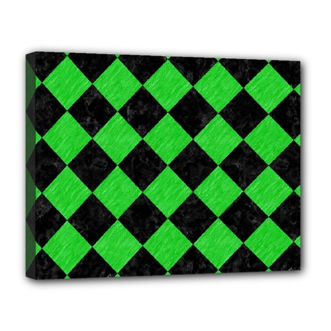 Square2 Black Marble & Green Colored Pencil Canvas 14  X 11