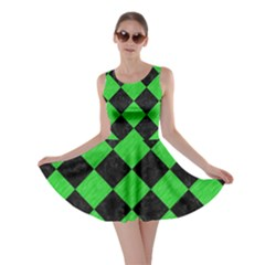 Square2 Black Marble & Green Colored Pencil Skater Dress