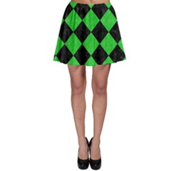 Square2 Black Marble & Green Colored Pencil Skater Skirt