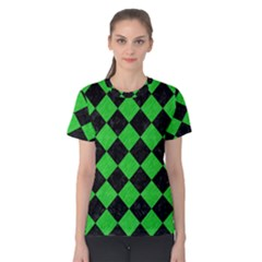 Square2 Black Marble & Green Colored Pencil Women s Cotton Tee