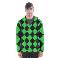 Square2 Black Marble & Green Colored Pencil Hooded Wind Breaker (men)