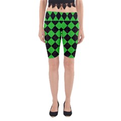 Square2 Black Marble & Green Colored Pencil Yoga Cropped Leggings