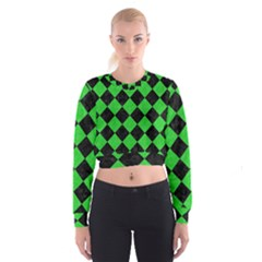 Square2 Black Marble & Green Colored Pencil Cropped Sweatshirt