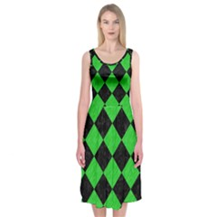 Square2 Black Marble & Green Colored Pencil Midi Sleeveless Dress