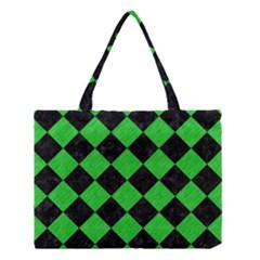 Square2 Black Marble & Green Colored Pencil Medium Tote Bag