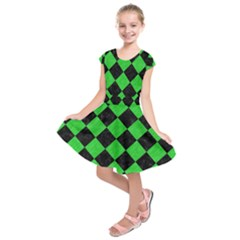 Square2 Black Marble & Green Colored Pencil Kids  Short Sleeve Dress