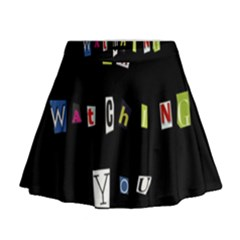 I Am Watching You Mini Flare Skirt