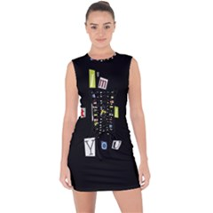 I Am Watching You Lace Up Front Bodycon Dress