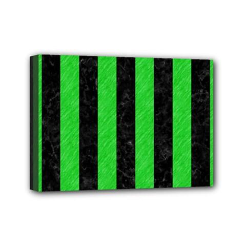 Stripes1 Black Marble & Green Colored Pencil Mini Canvas 7  X 5