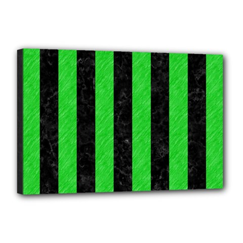 Stripes1 Black Marble & Green Colored Pencil Canvas 18  X 12