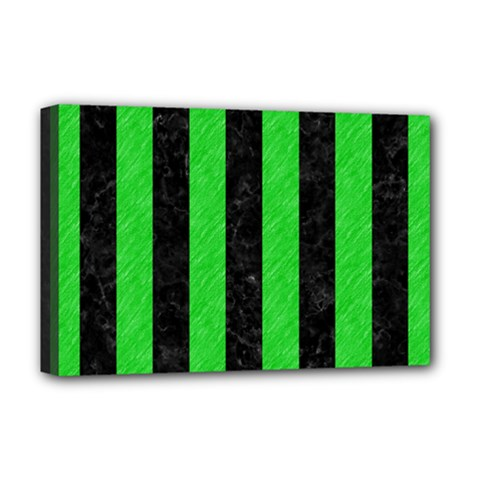 Stripes1 Black Marble & Green Colored Pencil Deluxe Canvas 18  X 12