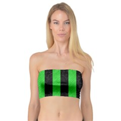 Stripes1 Black Marble & Green Colored Pencil Bandeau Top