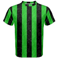 Stripes1 Black Marble & Green Colored Pencil Men s Cotton Tee