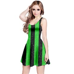 Stripes1 Black Marble & Green Colored Pencil Reversible Sleeveless Dress