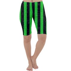 Stripes1 Black Marble & Green Colored Pencil Cropped Leggings