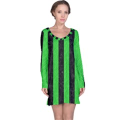Stripes1 Black Marble & Green Colored Pencil Long Sleeve Nightdress