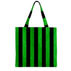 Stripes1 Black Marble & Green Colored Pencil Zipper Grocery Tote Bag