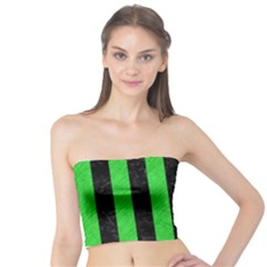 Stripes1 Black Marble & Green Colored Pencil Tube Top