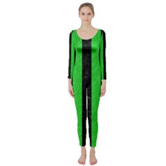 Stripes1 Black Marble & Green Colored Pencil Long Sleeve Catsuit