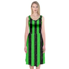 Stripes1 Black Marble & Green Colored Pencil Midi Sleeveless Dress